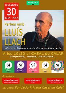 CONFERÈNCIA DE LLUÍS LLACH PREVISTA PEL DIVENDRES 30 DE JUNY DE 2017